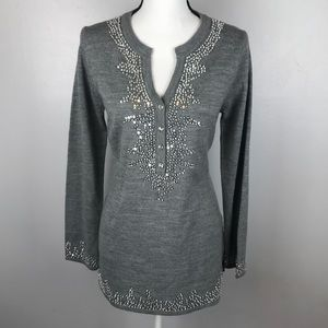 Dressbarn Collection Gray Sequin Sweater Tunic